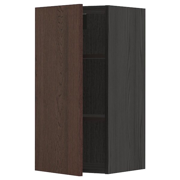 METOD Wall cabinet with shelves, black/Sinarp brown, 40x80 cm