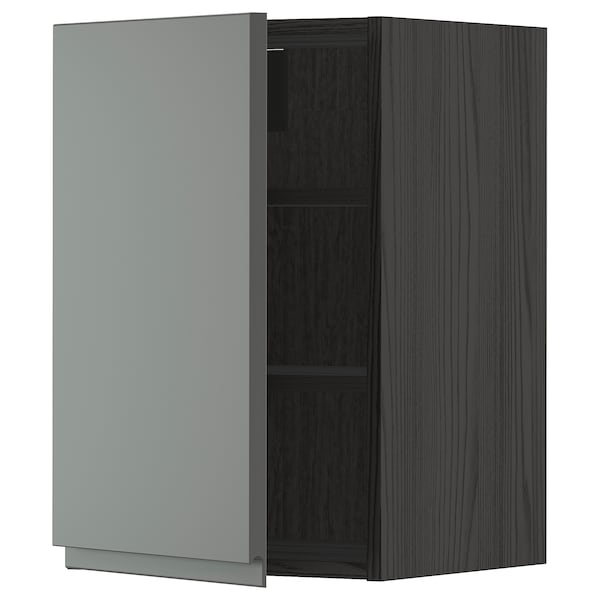 METOD Wall cabinet with shelves, black/Voxtorp dark grey, 40x60 cm