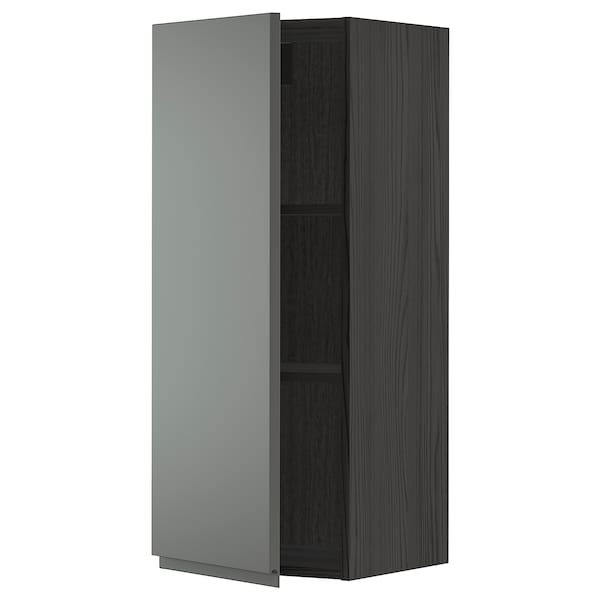 METOD Wall cabinet with shelves, black/Voxtorp dark grey, 40x100 cm