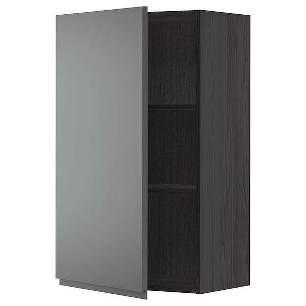 METOD Wall cabinet with shelves, black/Voxtorp dark grey, 60x100 cm