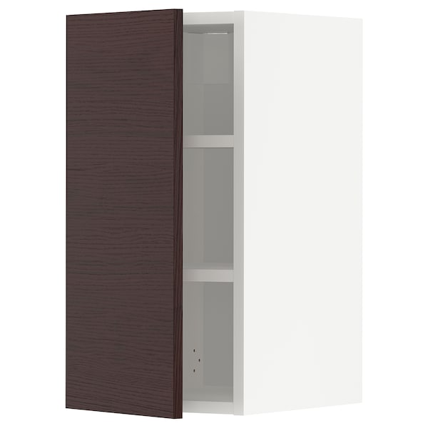 METOD Wall cabinet with shelves, white Askersund/dark brown ash effect, 30x60 cm