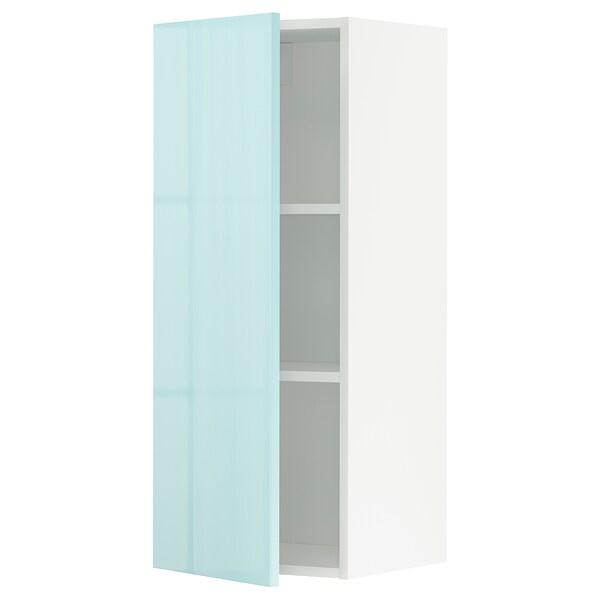 METOD Wall cabinet with shelves, white Järsta/high-gloss light turquoise, 40x100 cm