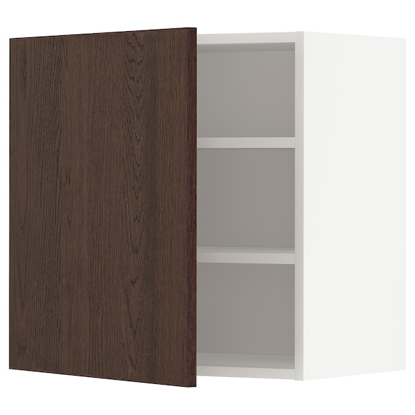 METOD Wall cabinet with shelves, white/Sinarp brown, 60x60 cm