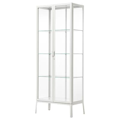 MILSBO Glass-door cabinet, white, 73x175 cm