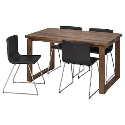 MÖRBYLÅNGA / BERNHARD Table and 4 chairs, brown/Mjuk dark brown, 140x85 cm