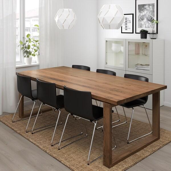 MÖRBYLÅNGA / BERNHARD طاولة و 6 كراسي, بني/Kavat بني غامق, 220x100 سم
