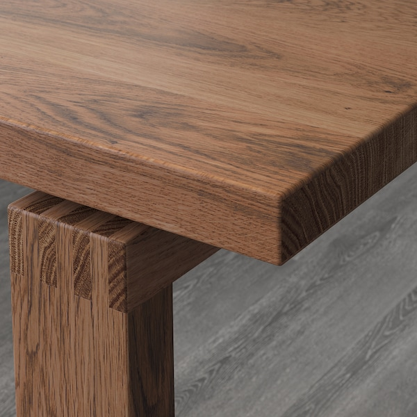 MÖRBYLÅNGA / BERNHARD طاولة و 6 كراسي, بني/Kavat أبيض, 220x100 سم
