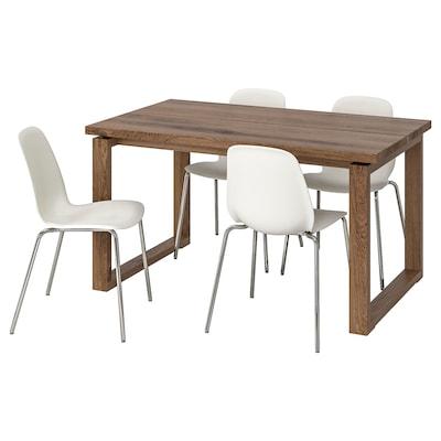 MÖRBYLÅNGA / LEIFARNE طاولة و4 كراسي, بني/أبيض, 140x85 سم