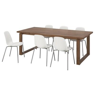 MÖRBYLÅNGA / LEIFARNE طاولة و 6 كراسي, بني/أبيض, 220x100 سم