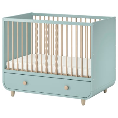 MYLLRA Cot with drawer, light turquoise, 60x120 cm