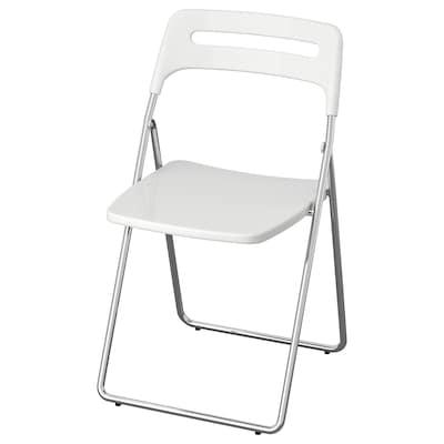 NISSE كرسي قابل للطي, لامع أبيض/طلاء كروم
