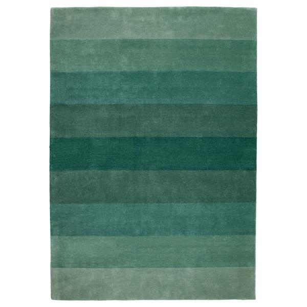 NÖDEBO Rug, low pile, handmade/green, 170x240 cm