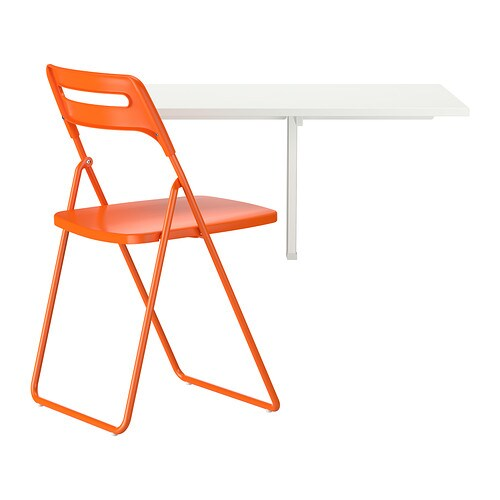NORBERG / NISSE Table and 1 chair   Becomes a practical shelf for small things when folded down.