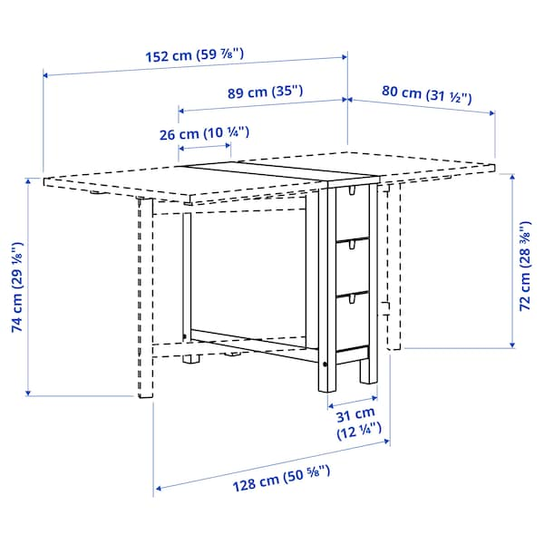 NORDEN طاولة بأرجل تُطوى, بتولا, 26/89/152x80 سم