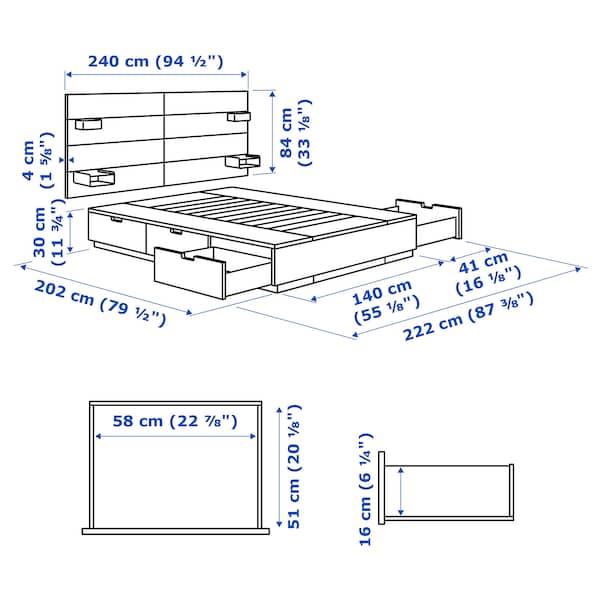 NORDLI هيكل سرير مع تخزين ولوح رأس, أبيض, 140x200 سم