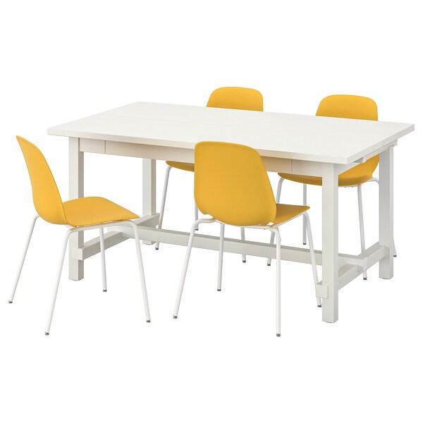 NORDVIKEN / LEIFARNE طاولة و4 كراسي, أبيض/Broringe أبيض, 152/223x95 سم