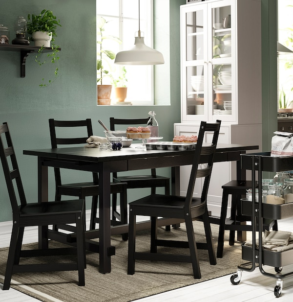 NORDVIKEN Table and 4 chairs, black/black, 152/223x95 cm