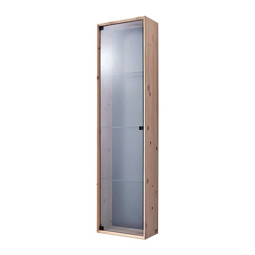 NORNÄS Glass-door wall cabinet   Untreated solid pine is a durable natural material that can be painted, oiled or stained according to preference.