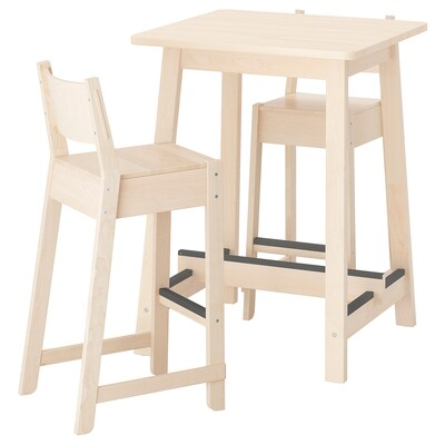 NORRÅKER Bar table and 2 bar stools, birch birch, 74 cm