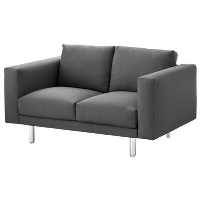 NORSBORG 2-seat sofa, Finnsta dark grey/metal