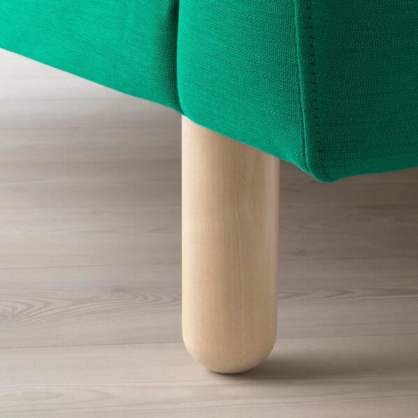 NORSBORG كنبة 3 مقاعد, مع أريكة طويلة/Edum أخضر مشرق/خشب البتولا