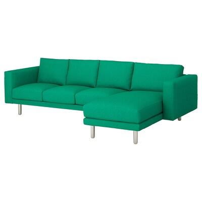 NORSBORG كنبة 4 مقاعد, مع أريكة طويلة/Edum أخضر مشرق/معدني