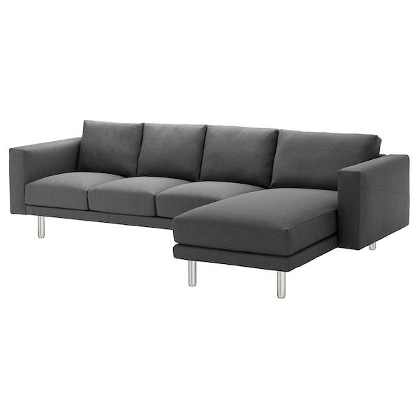 NORSBORG كنبة 4 مقاعد, مع أريكة طويلة/Finnsta رمادي غامق/معدني