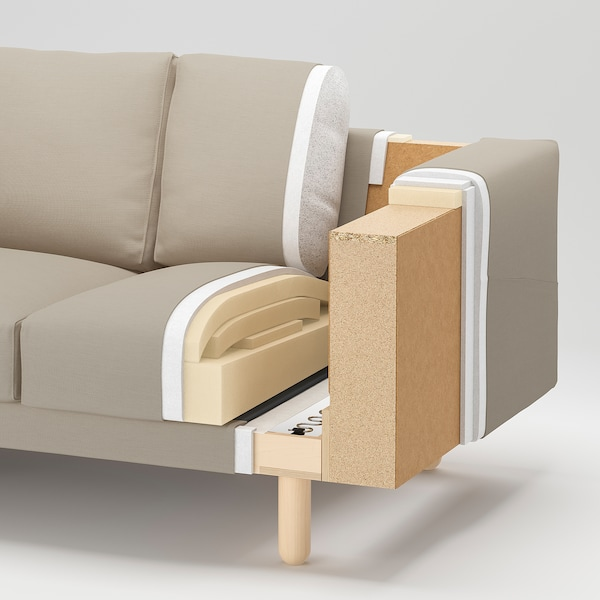 NORSBORG كنبة 4 مقاعد, مع كرسي أسترخاء/Finnsta رمادي غامق/خشب البتولا