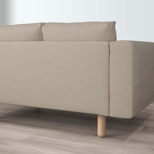 NORSBORG كنبة زاوية، 5 مقاعد, مع أريكة طويلة/Edum بيج/خشب البتولا