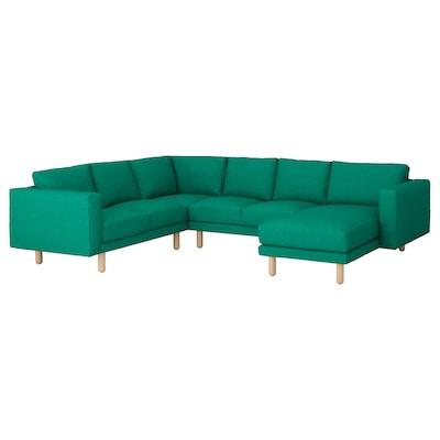 NORSBORG Corner sofa, 5-seat, with chaise longue/Edum bright green/birch
