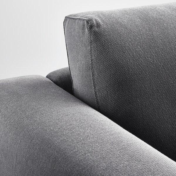 NORSBORG كنبة زاوية، 5 مقاعد, مع أريكة طويلة/Finnsta رمادي غامق/خشب البتولا