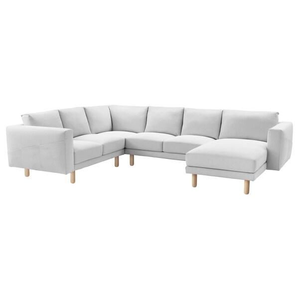 NORSBORG كنبة زاوية، 5 مقاعد, مع أريكة طويلة/Finnsta أبيض/بتولا