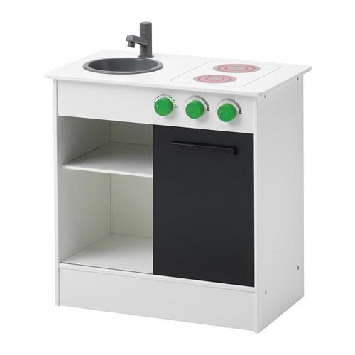 NYBAKAD Play kitchen with sliding door, white