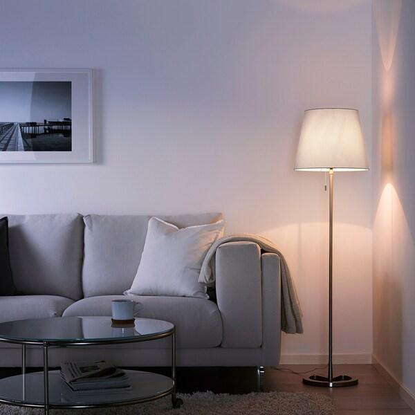 NYFORS Floor lamp, nickel-plated white