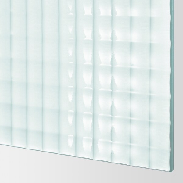 NYKIRKE Pair of sliding doors, frosted glass, check pattern, 200x201 cm
