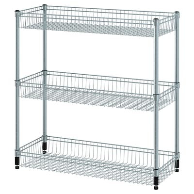 OLAUS Shelving unit with 3 baskets, galvanised, 92x36x94 cm