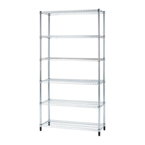 OMAR 1 shelf section   Easy to assemble – no tools required.  Also stands steady on an uneven floor since the feet can be adjusted.