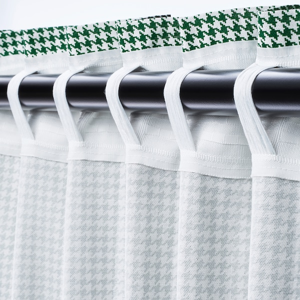 ORDENSFLY curtains, 1 pair white/green 300 cm 145 cm 1.85 kg 4.35 m² 2 pack