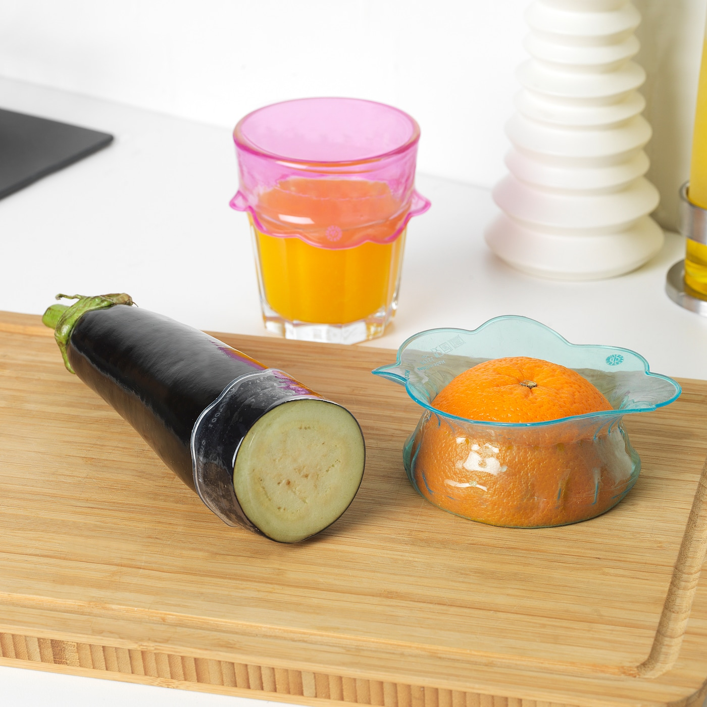 IKEA OVERMATT REUSABLE FOOD COVER SILICONE SET OF 3 JAR COVERS