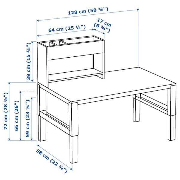 PÅHL Desk with add-on unit, white/green, 128x58 cm