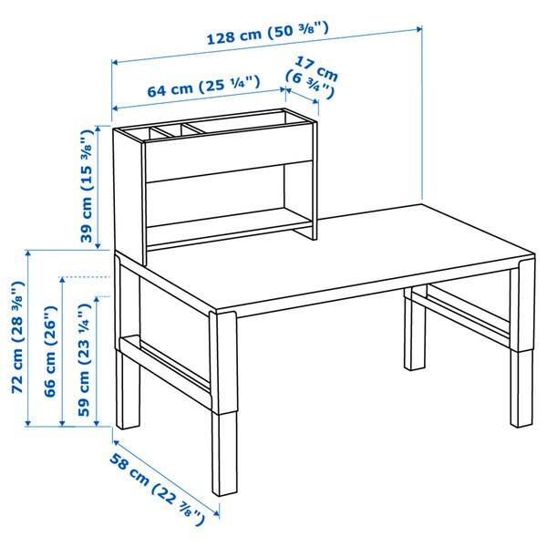 PÅHL Desk with add-on unit, white/pink, 128x58 cm