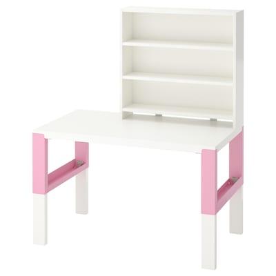 PÅHL Desk with shelf unit, white/pink, 96x58 cm