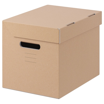 PAPPIS Box with lid, brown, 25x34x26 cm