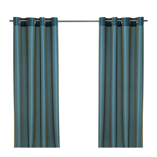 PÄRLBUSKE Curtains, 1 pair   The curtains have an elegant shimmer because two different colours are woven into the fabric.