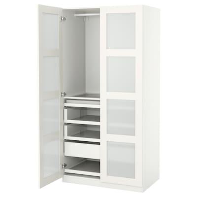 PAX / BERGSBO تشكيلة دولاب ملابس., أبيض/زجاج محبب, 100x60x201 سم