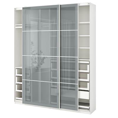 PAX / BJÖRNÖYA Wardrobe combination, white/grey tinted effect, 200x44x236 cm