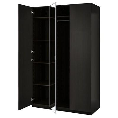 PAX / FORSAND/ÅHEIM تشكيلة دولاب ملابس., أسود-بني/زجاج مرايا, 150x60x236 سم