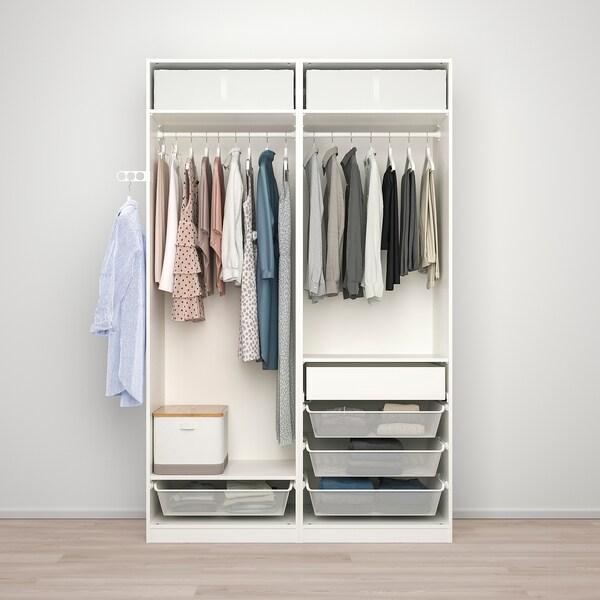 PAX / HOKKSUND تشكيلة دولاب ملابس., أبيض/لامع رمادي فاتح, 150x66x236 سم