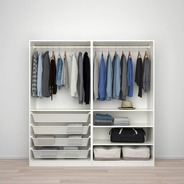 PAX Wardrobe, white/Nykirke frosted glass, check pattern, 200x66x201 cm