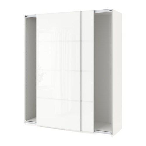 Pax Wardrobe With Sliding Doors White Färvik White Glass